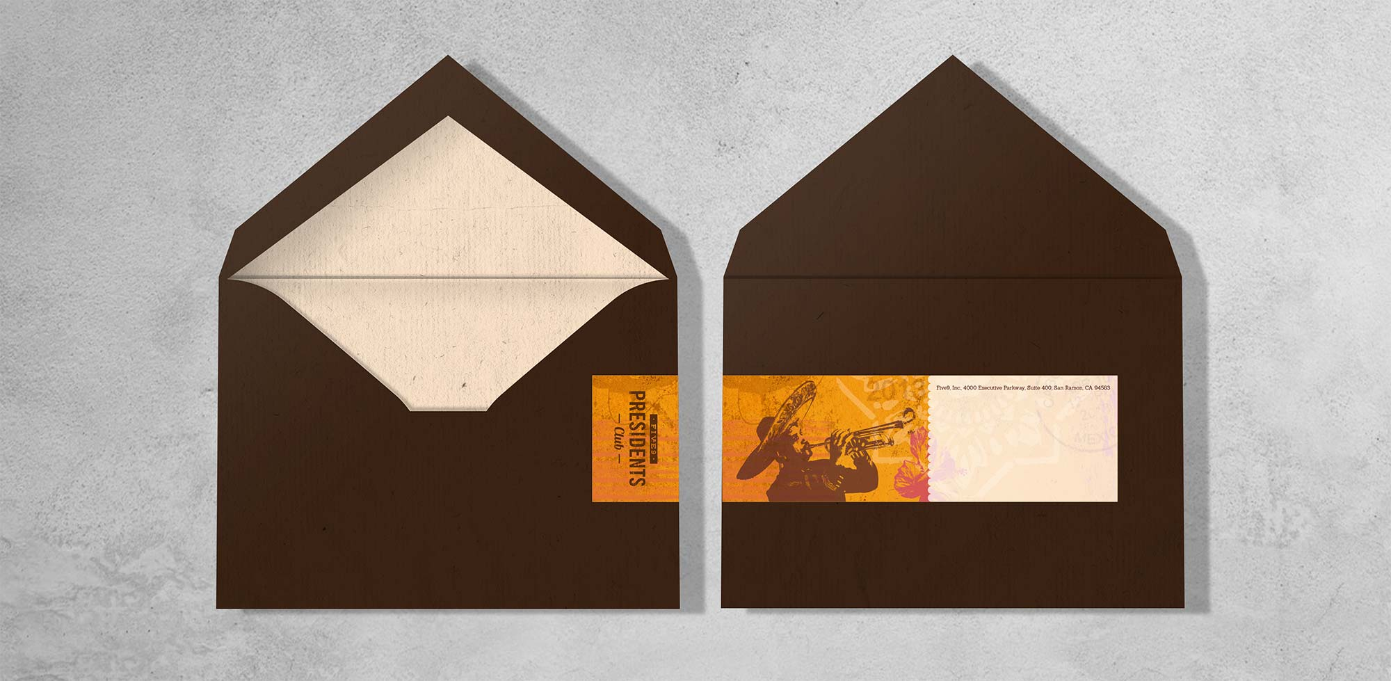 Five9 Presedents Club Envelope designed by Giselle Dale