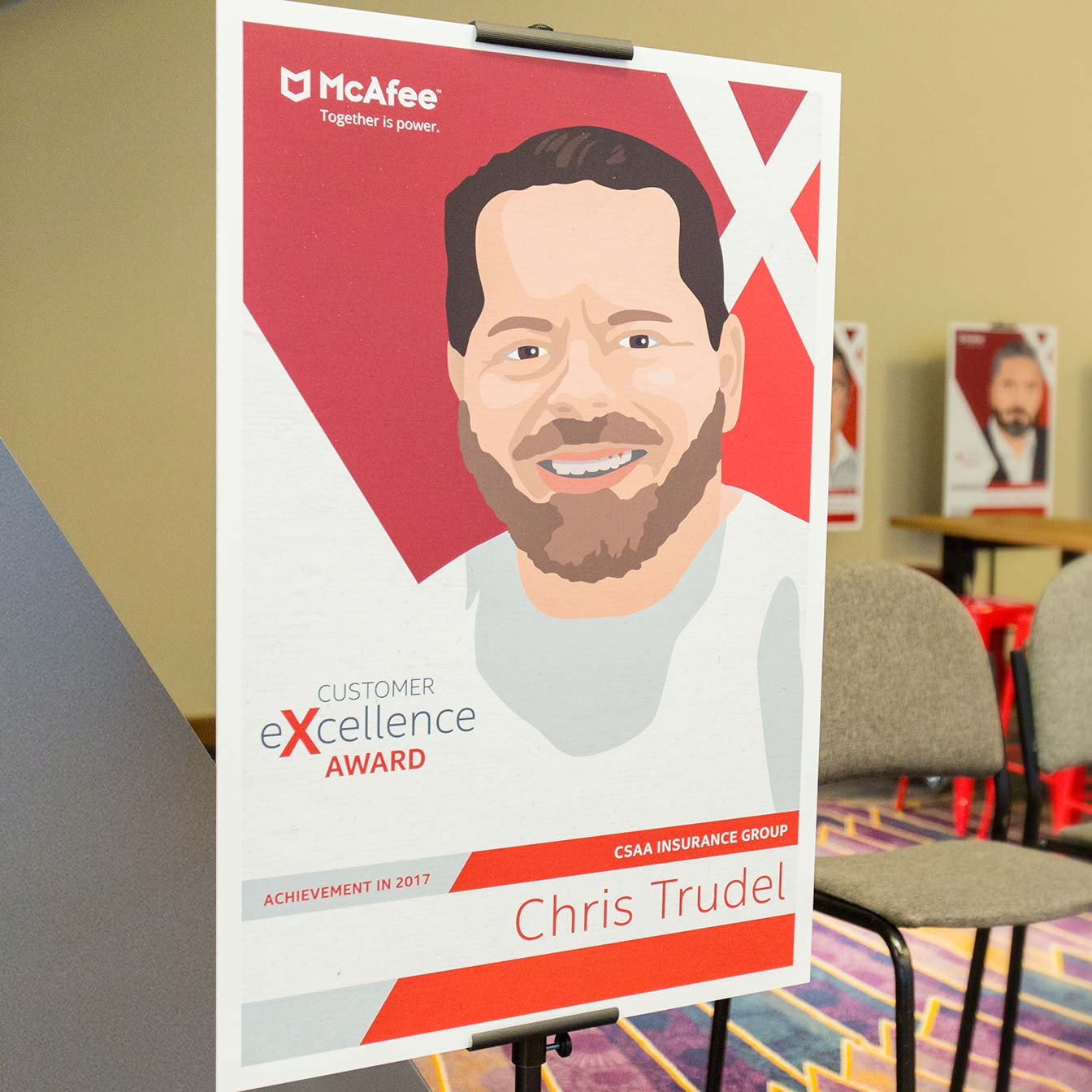 Portrait for McAfee's The Place Customer Reference Program illustrated by Giselle Dale